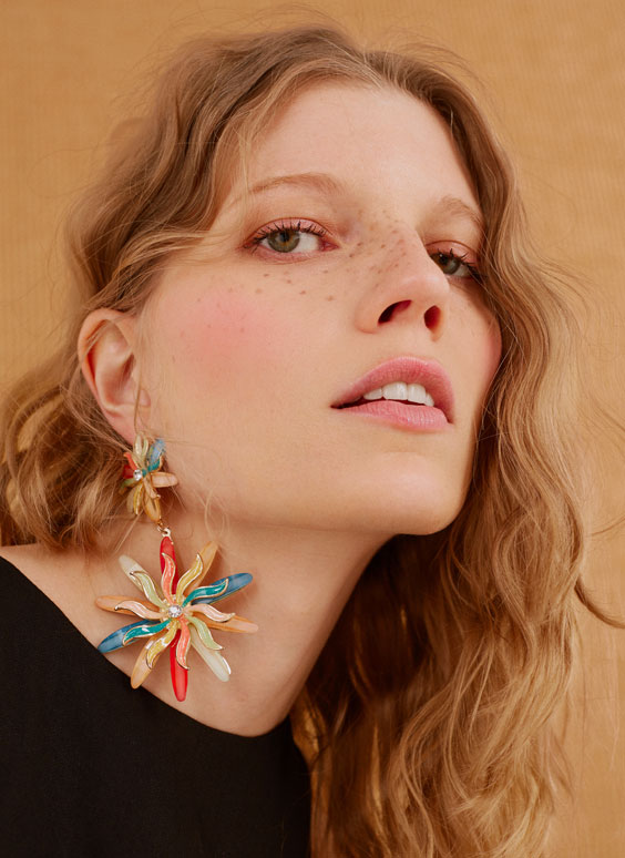 Colourful floral earrings