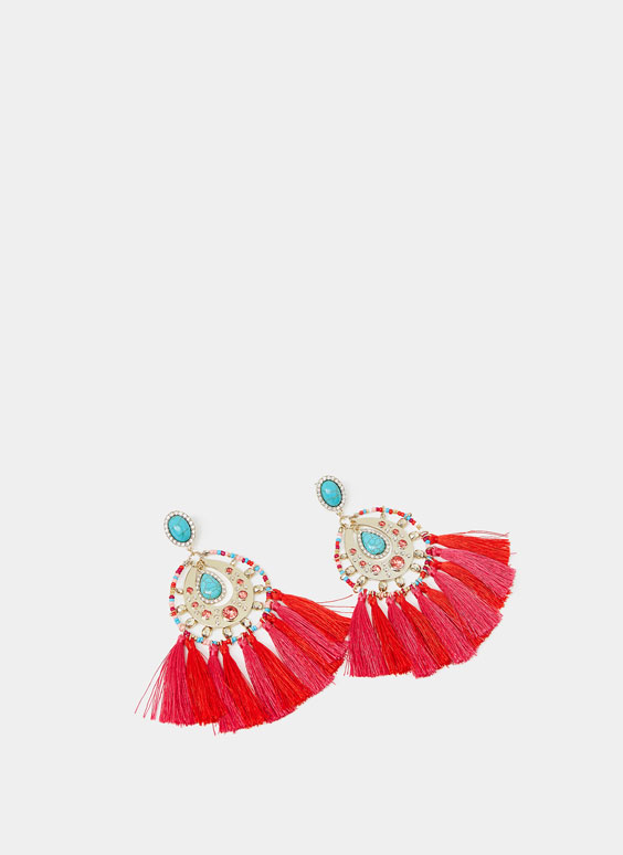 Fringed jewel earrings