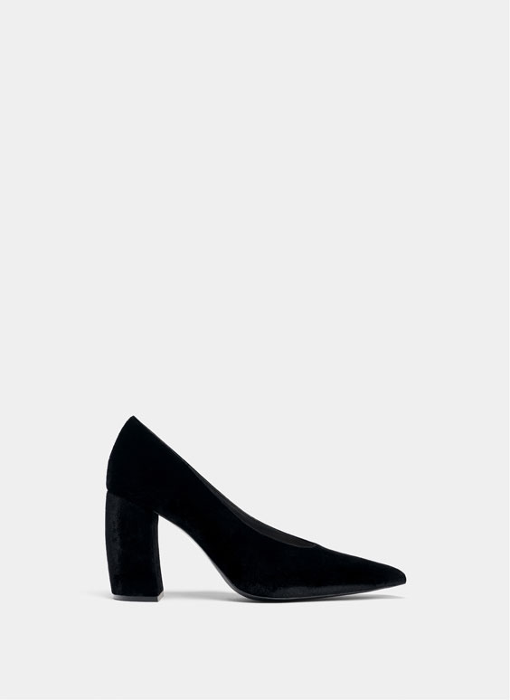 Black velvet court shoes.