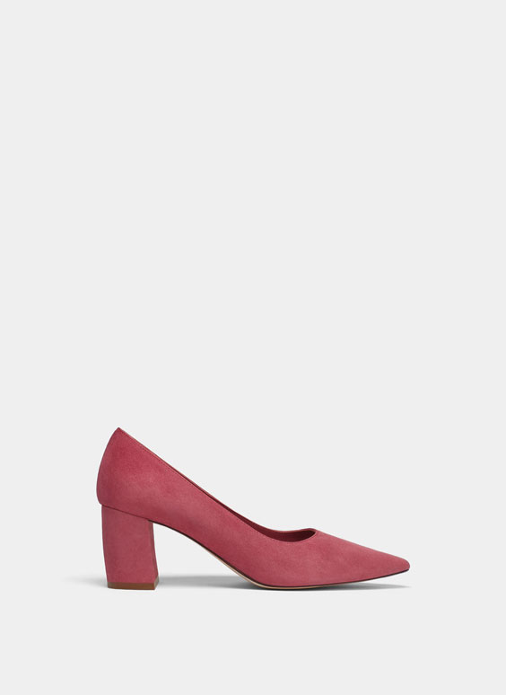 Raspberry suede high heel court shoes