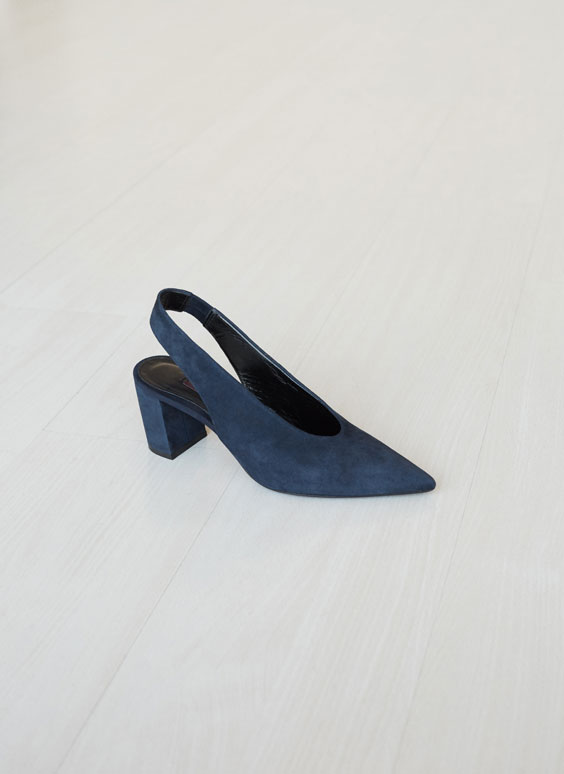 Blue suede slingback high heel court shoes