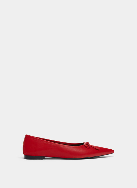 Ballerines rouges cuir