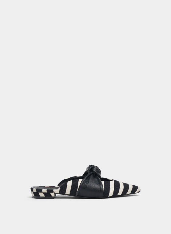Striped mules with knot detail