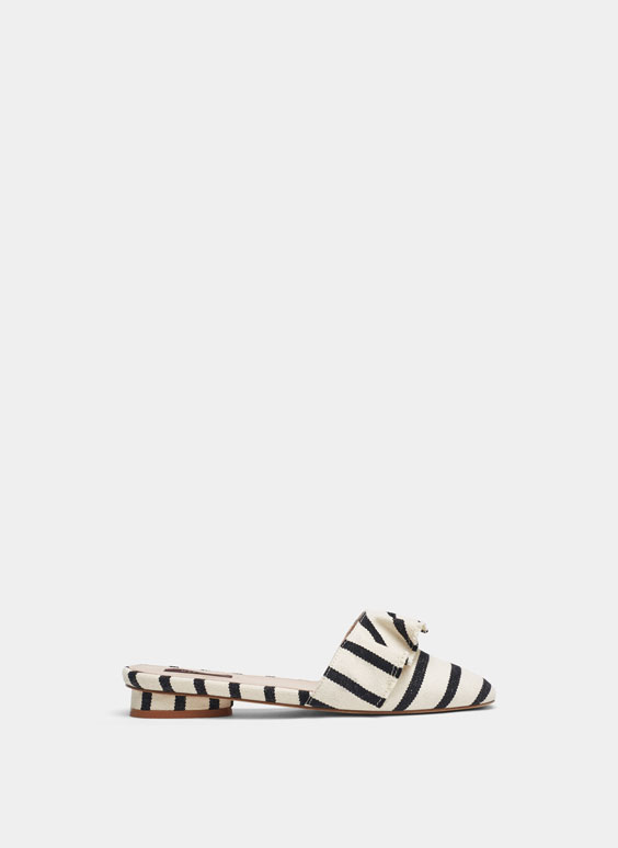 Striped mules with ruffle