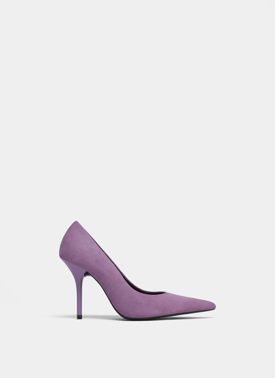 Purple suede high heel court shoes