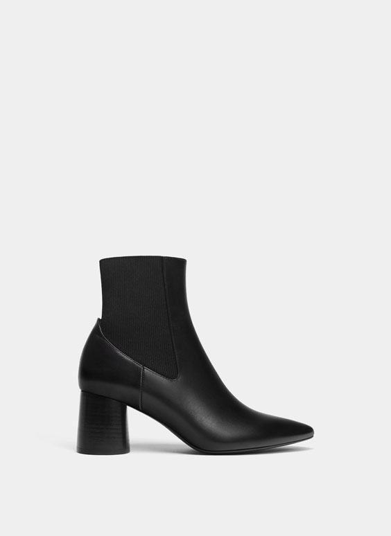 Black wide heel ankle boots