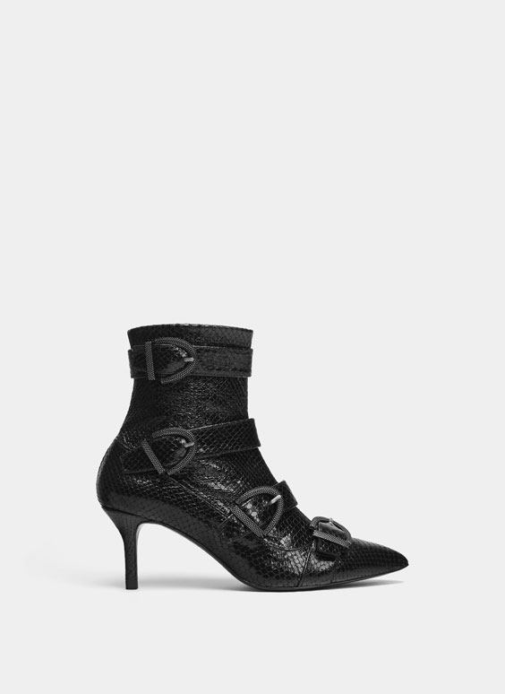 Mock croc ankle boots with buckled straps