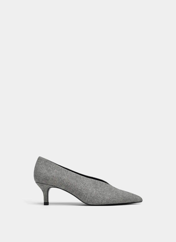 Grey mid-heel shoes