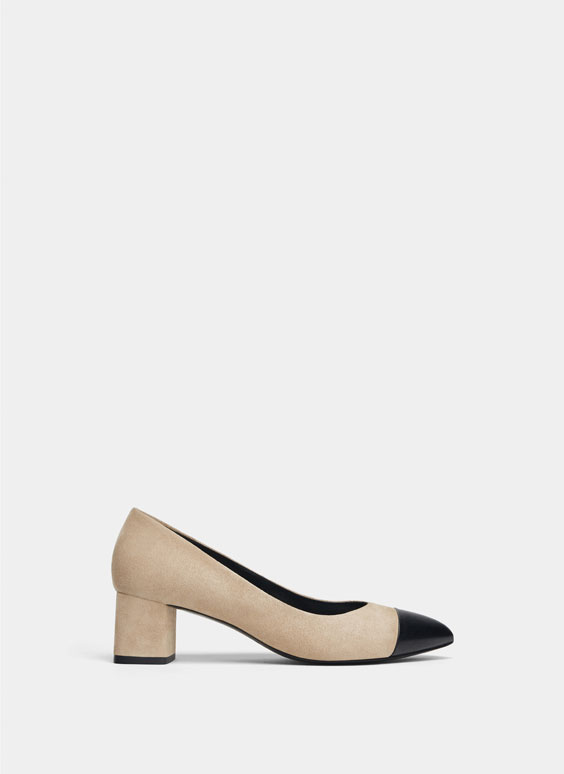 Suede pointed mid-heel court shoes