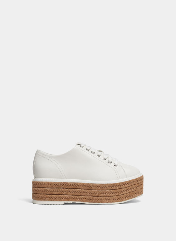 White derby shoes with jute sole
