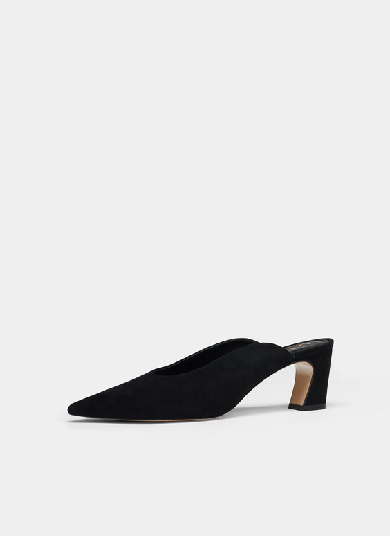 Black suede mules with removable vamp accessory
