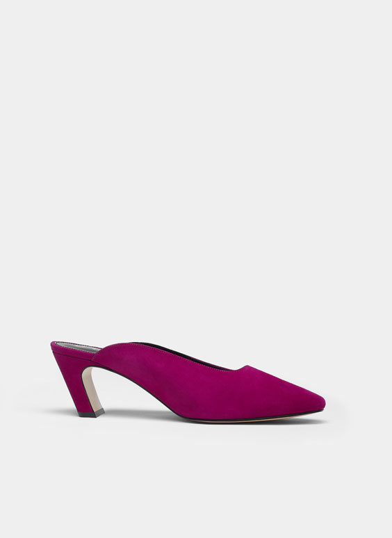 Fuchsia suede mules with removable vamp accessory
