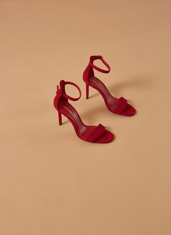 """Uterqüe Codes"" red suede sandals"