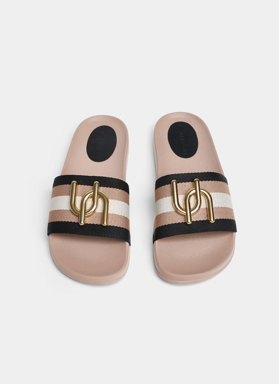 Striped slides with logo detail
