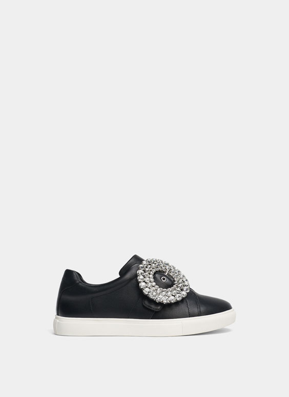 Bejewelled leather plimsolls
