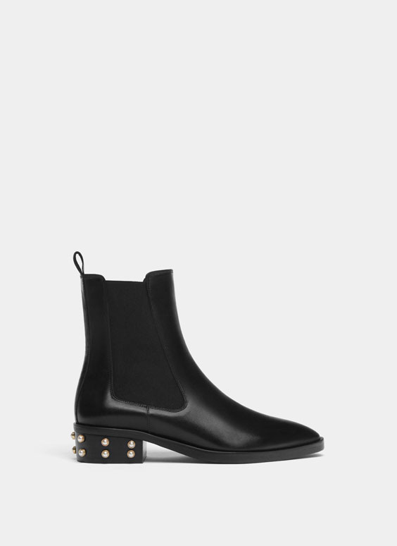 Bottines cuir talon perles