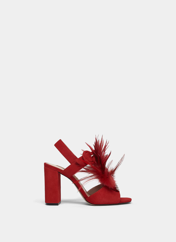 Feather sandals with gem details