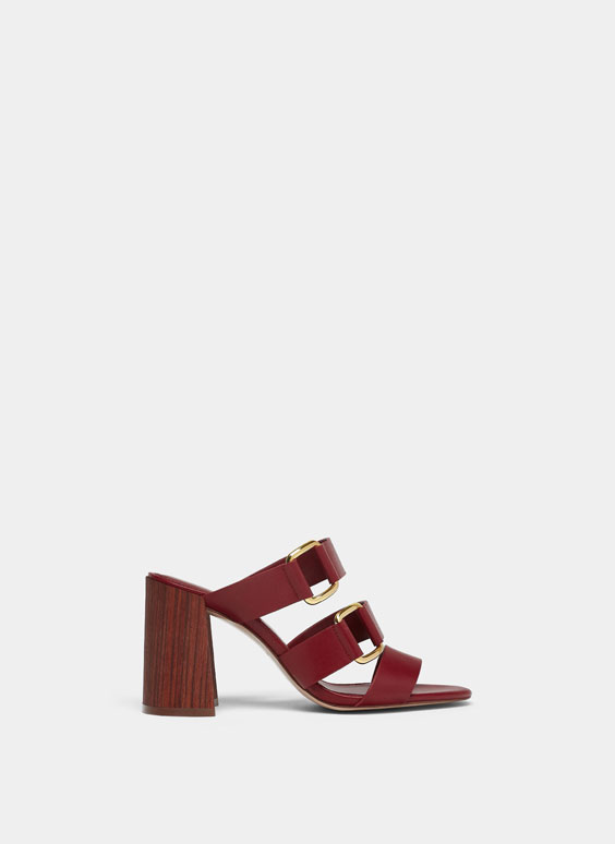 Sandalo con fascette color burgundy
