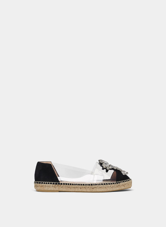 Flat vinyl espadrilles with gem detail