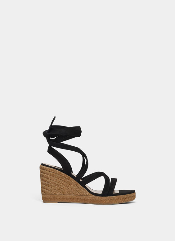 Jute wedges with crossed straps