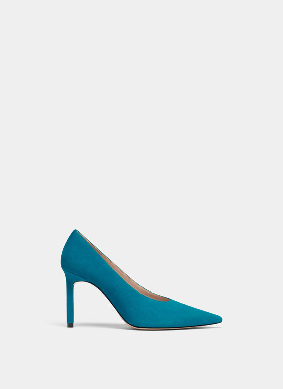 Blue high heel court shoes