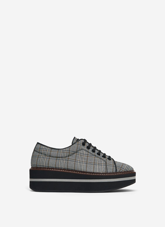 Checked fabric derby shoes