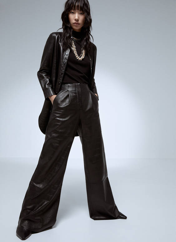 Wide-leg leather trousers