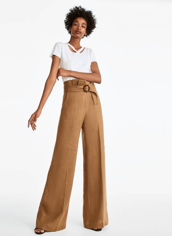 Linen trousers with pleats