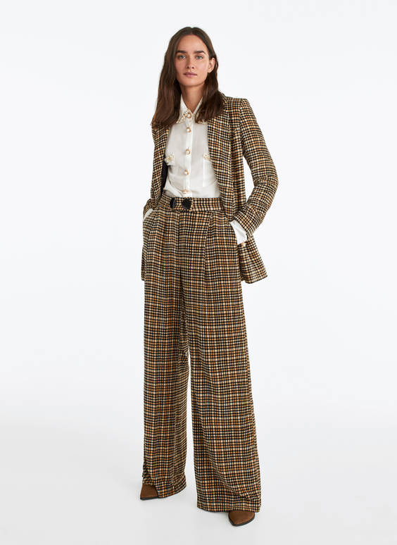 Chenille check trousers