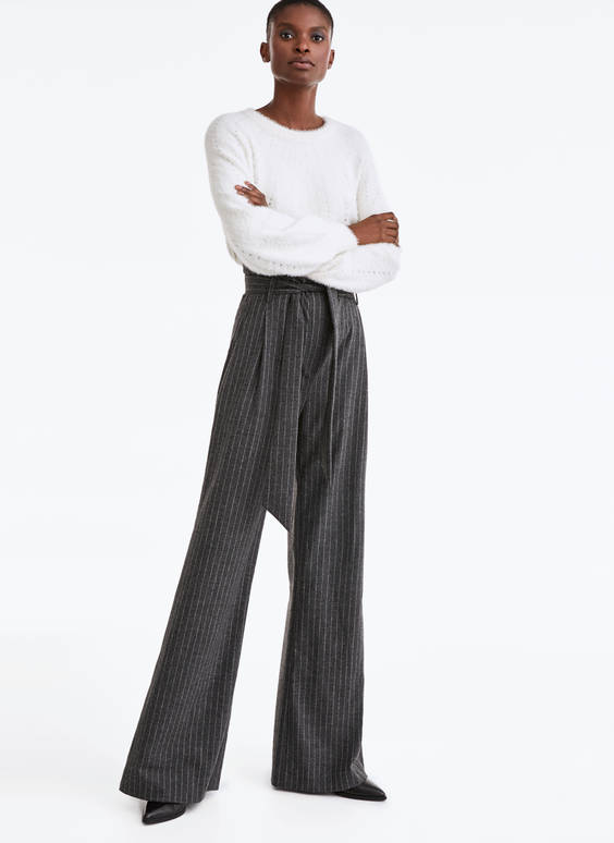 Striped flannel trousers