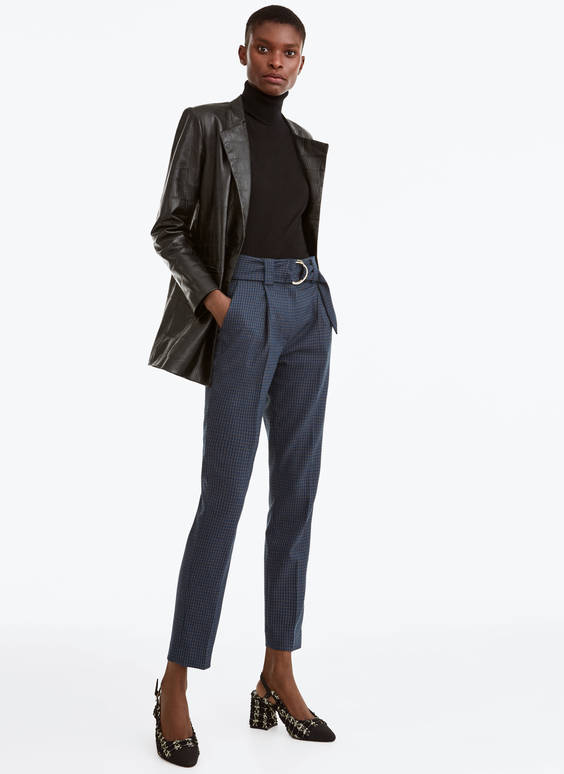 Check trousers with double buckle