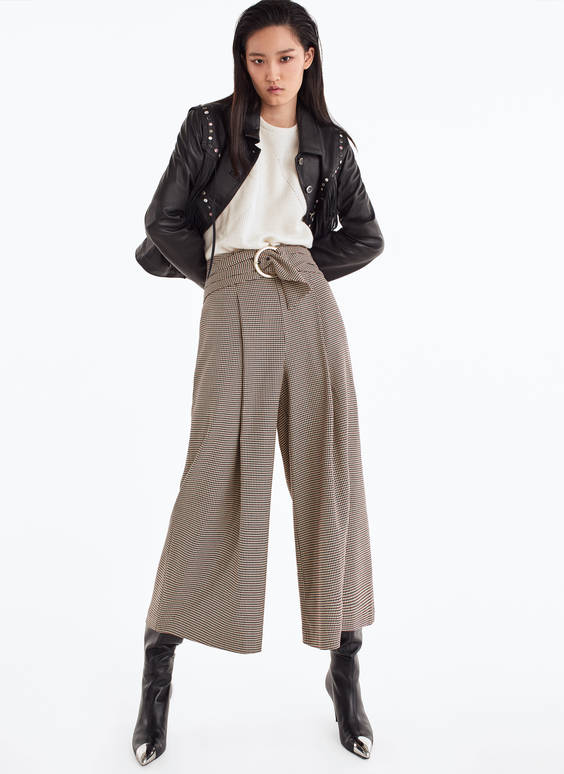 Pantalon culotte à carreaux