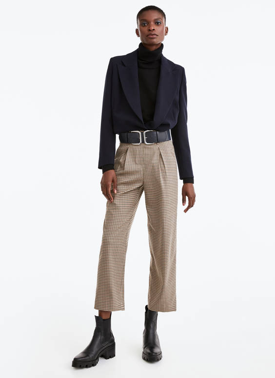 Check trousers with belt