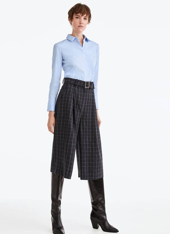 Flannel culottes with a rhinestone buckle