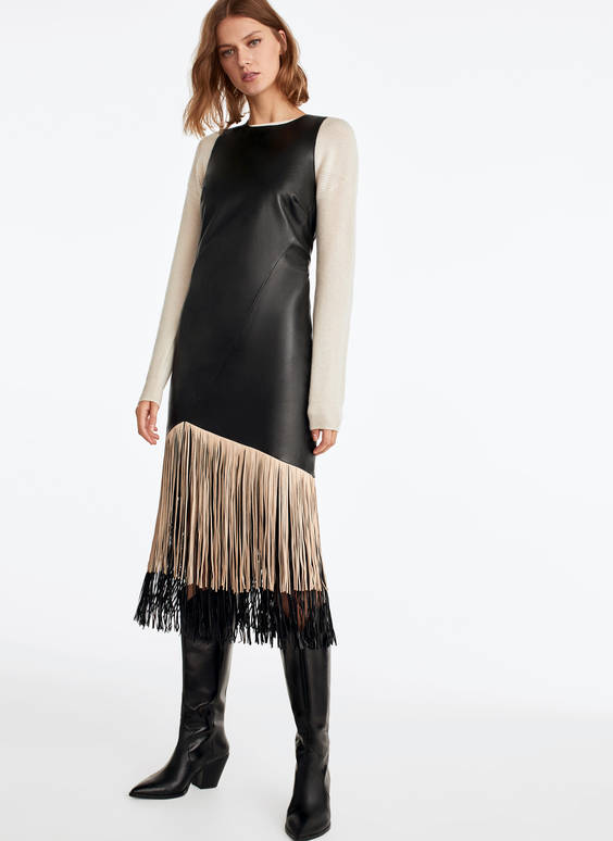 Leather dress with fringing