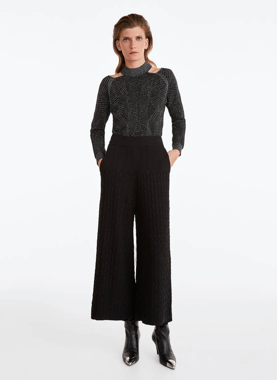Raised effect knit trousers