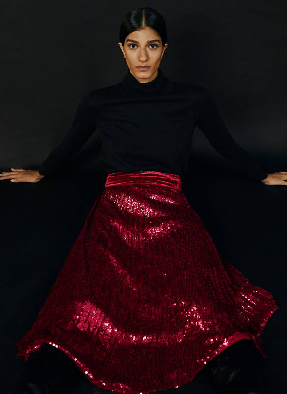 Pleated sequinned skirt
