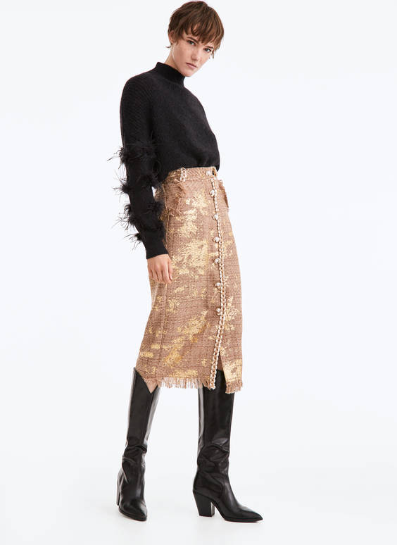 Gold-coloured tweed skirt