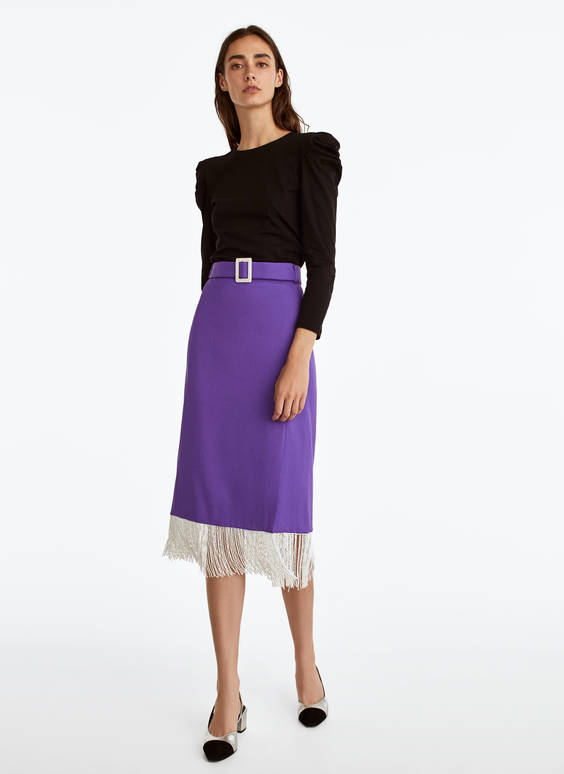 Purple skirt with fringe