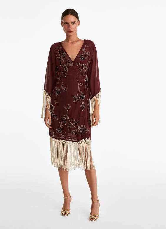 Short kaftan with fringe