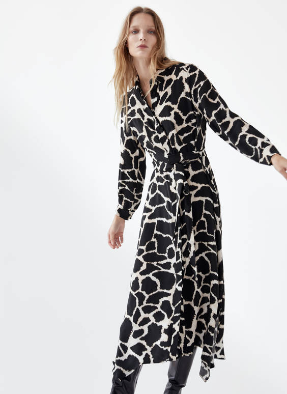 Spotted print shirt dress