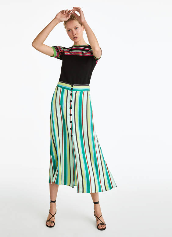 Skirt with green striped print