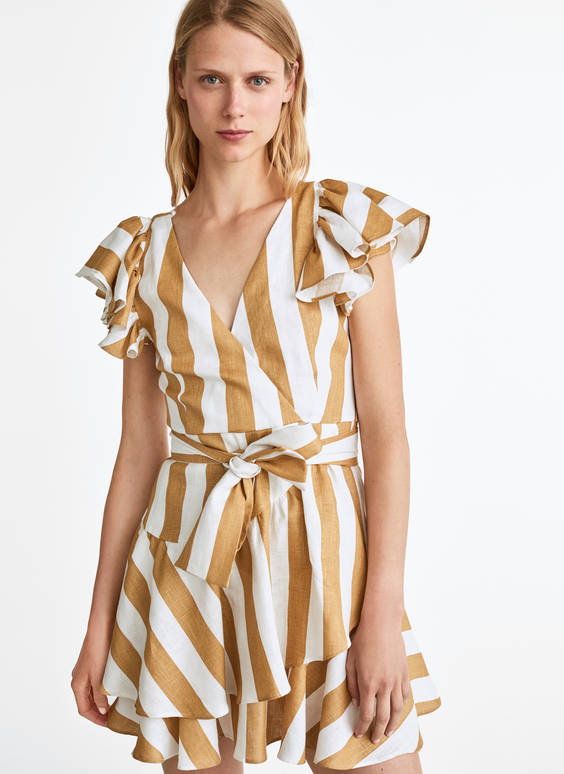 Camel-coloured striped linen dress