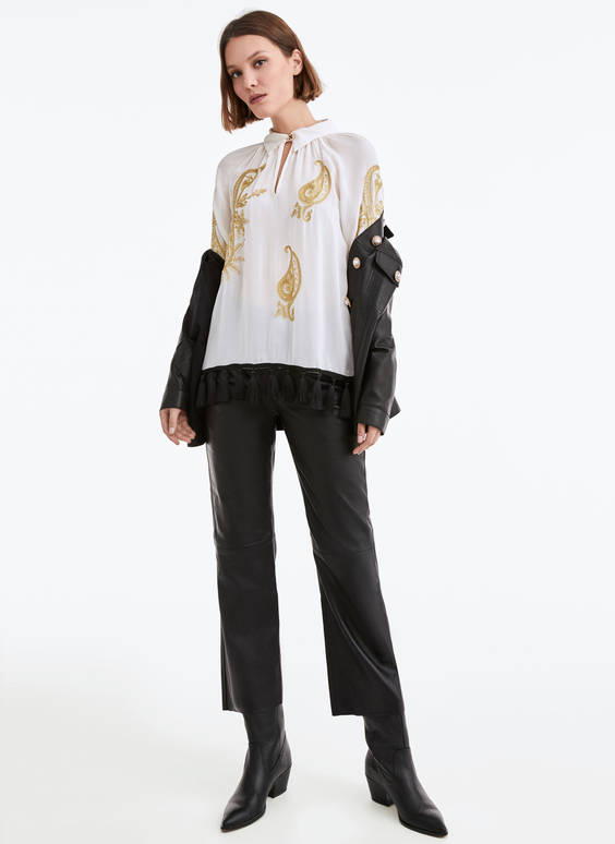 Fringed embroidery shirt