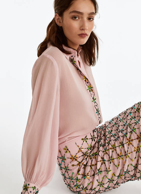 Shirt with embroidered beading