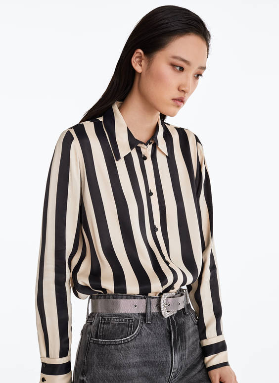 Ecru striped cargo shirt