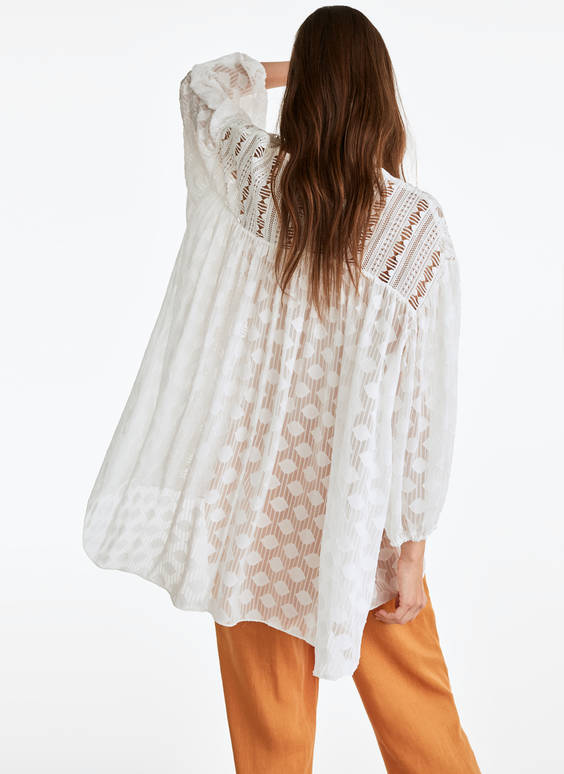Patterned boho loose-fitting blouse