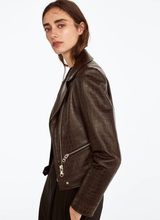 Mock croc leather jacket