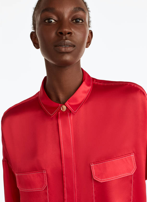 Red silk shirt