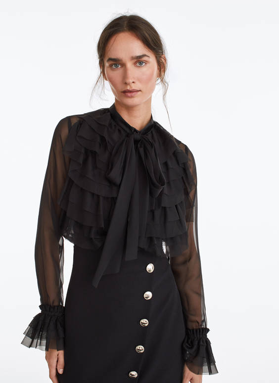 Black ruffled romantic shirt